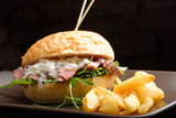 Gourmet burger with roast beef, potato and parmesan cheese