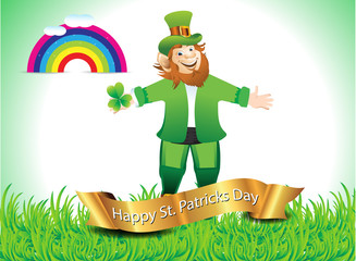 St. Patrick;s Background with leprechaun