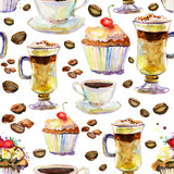 seamless watercolor background with cups and cakes.