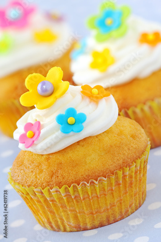 Cupcakes decorated with colourful flowers and buttercream