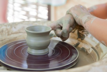 Process of making a cup on a potter's wheel