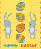 vector card Easter bunnies
