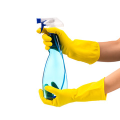 Cleaning spray in hand isolated on white