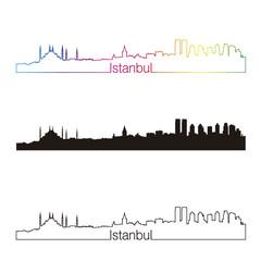 Istanbul skyline linear style with rainbow