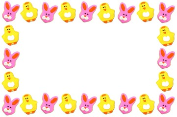 Easter frame of chick and bunny shaped cookies