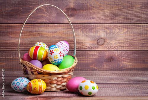 Foto op Canvas Egg Easter eggs in the basket