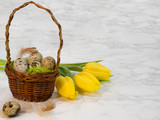 Easter's eggs are in a wicker basket