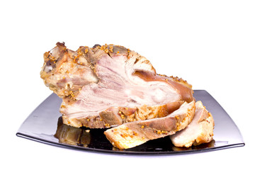 Ham, Pork Isolated on White Background
