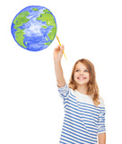 cute little girl drawing with brush planet earth