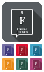 Fluorine symbol from periodic table on colored flat icons
