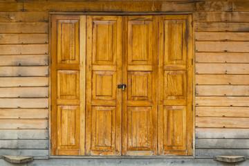 Wooden door and latch