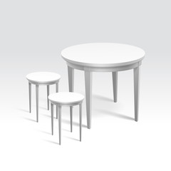 Vector Empty Round Table with Two Chairs