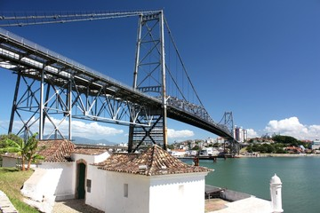 Santana Fort and Hercílio Luz Bridge, Florianopolis, Brazil
