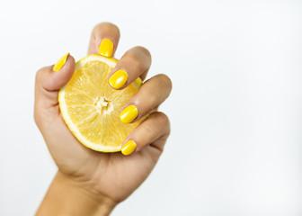 Citrus in women hand
