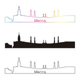 Mecca skyline linear style with rainbow