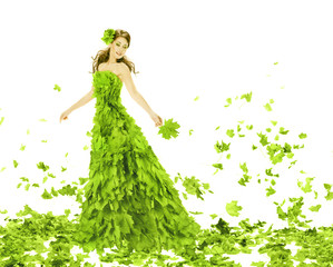 fantasy beauty, fashion woman in green leaves dress, summer gown