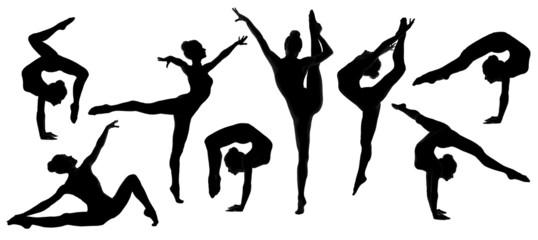 silhouette gymnast dancer, set of ballerina female flexible pose