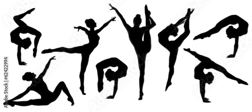 silhouette gymnast dancer, set of ballerina female flexible pose