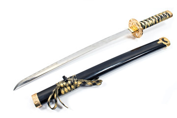 Japanese samurai katana sword isolated on white
