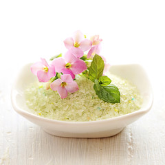 bowl of scented bath minerals