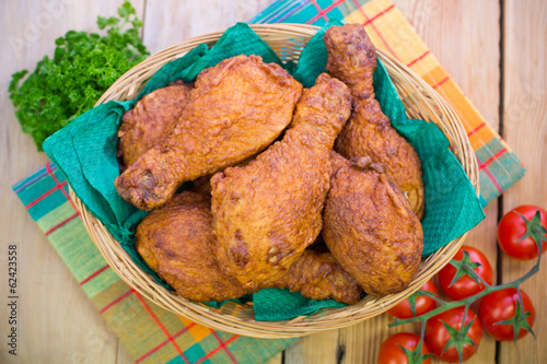 Fried chicken in the basket