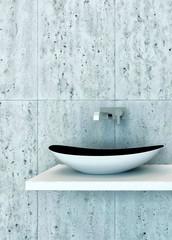 Closeup of modern wash basin