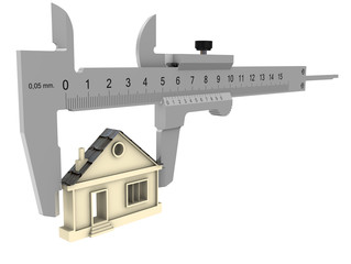 Штангенциркуль измеряет дом