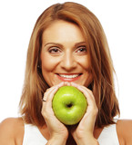 beautiful woman with green apple - 62426937