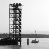Harbour jetty in Friedrichshafen with its lookout tower