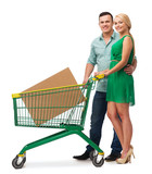 smiling couple with shopping cart and big box
