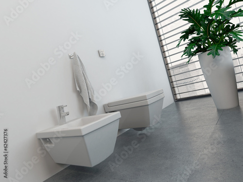 Modern bathroom interior with toilet