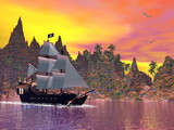Pirate ship by sunset - 3D render