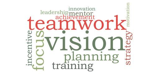 Vision teamwork word cloud