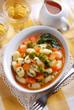 gnocchi di patate con broccoli in salsa di carote