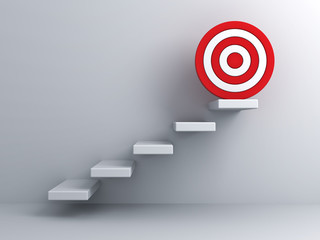 Steps with goal target business concept over white wall