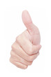Man hand showing thumb up sign over white background