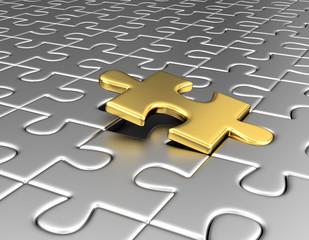 goldenes Puzzleteil