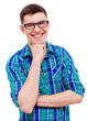 Cheerful guy in glasses with hand near chin over white