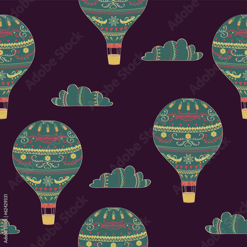 Vector seamless pattern with hot air balloons and clouds - 62429331