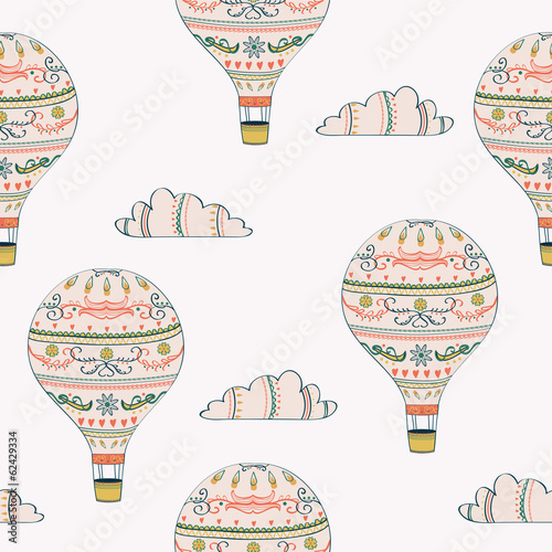 Vector seamless pattern with hot air balloons and clouds - 62429334