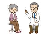 高齢者へ説明する医師