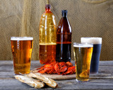 Light and dark beer with crayfish and dried fish