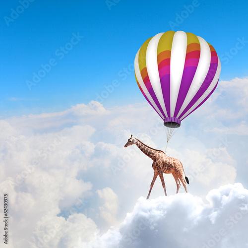 Naklejka Flying giraffe