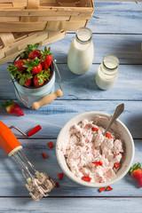 Homemade ice cream made with strawberry and yogurt