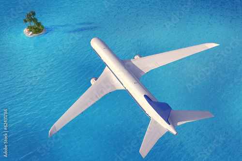 Aircraft go to the tropical island