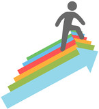 Person climbs up success direction arrows