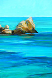 coast of mediterranean sea, painting, illustration