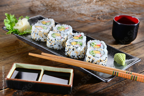 Fototapeta Sushi - Japanese food