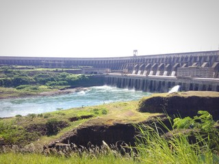 Panoramic view of Itaipu dam, Brazil and Paraguay