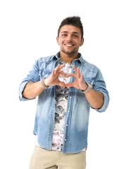 Handsome young man making heart sign with his hands and fingers